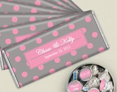 Pink and Gray Wedding Ideas: Personalized wedding favors are a unique memento for your guests to remember your special day. Display wrapped HERSHEY'S bars and custom stickers for KISSES candies at your candy buffet for everyone to enjoy.