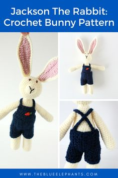 Jackson the Rabbit ! Get the free crochet bunny pattern in time for Easter! He's easy to make and a great Spring