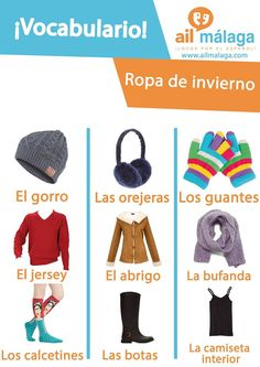 Even if #Malaga has sun almost 300 days a year, during winter you'll need #winter #clothes so here are their names in #Spanish if you need to buy some :) #LearnSpanish #SpanishSchool #SpanishVocab