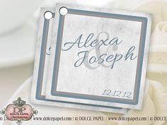 Silver Metallic Paper Jane Custom Wedding Favor Tags 2x2