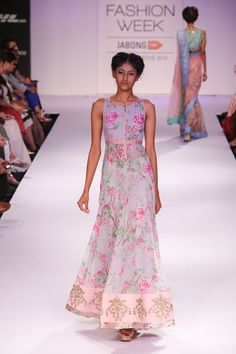 Anushree Reddy Light Blue Floral #Anarkali #Dress At Lakme Fashion Week 2014.
