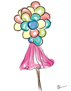 New fashion illustration wall art. Girl with balloons