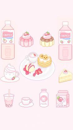 Compiled a bunch of cute pixel art. Cute Food Drawings, Cute Kawaii Drawings, Kawaii Art, Kawaii Wallpaper, Disney Wallpaper, Wallpaper Desktop, Girl Wallpaper, Wallpaper Quotes, Wallpaper Backgrounds