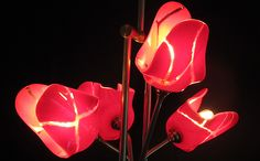 Passion Red Tulips:  4-Shade Brass Lighting Fixture