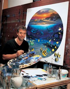 "Wyland...(1956-).  The world's premier ocean and marine-life artist.  He is a painter, sculptor, muralist and writer.  He has produced many giant landmark murals known as ""The Whaling Walls"" throughout the world.  He is known as a maritime Michelango."