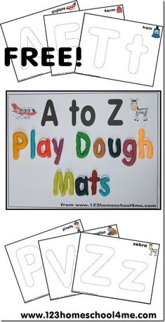 Free Alphabet playdough mats from 123 Homeschool 4 Me. www.123homeschool...