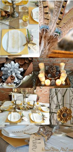 Incorporate natural elements (feathers, burlap) and metallics into your Thanksgiving tablescape.