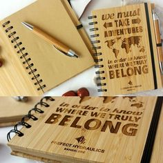 wooden notebooks- Our bamboo notebooks are unique and perfect for corporate gifting. They are designed to make your brand stand out in the clutter of generic corporate gifts. We have used the warmth of wood to create a notebook which customers will actually use, rather than leave in a dusty corner of their desk. Customise them with your client's name or your company's logo and add a personal touch.