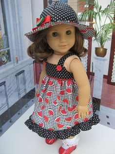 Spring Red and Black Watermelon Dress and Hat for 18 inch and American Girl Doll by Bon Bon Boutique