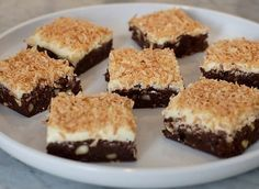 Toasted Coconut Brownies recipe from Eddie Jackson via Food Network Brownie Recipes, Cake Recipes, Dessert Recipes, Fried Cheesecake Bites Recipe, Coconut Brownies, Coconut Recipes, Brownie Bar, Brownie Bites, Toasted Coconut