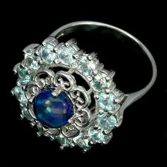Amazing Natural Hot Rainbow Black Opal Zircon 925 Sterling Silver Ring Size 8 Nr