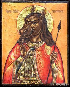 (via Poemas del río Wang: Dog-headed Saint Christopher) Spanish Armada, Like Icon, Saint Christopher, Famous Photos, Orthodox Icons, St Michael, Illuminated Manuscript, Religious Art, Werewolf