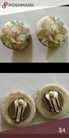 Vintage porcelain earrings clip on Vintage porcelain painted earrings.  Clip on.  Great condition Vintage Jewelry Earrings
