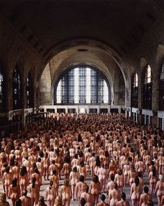Posing for Spencer Tunick in 2004 at Buffalo's Central Terminal. 1,826 particiants bared all for the photographer.