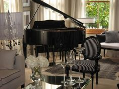 andrewl: Monochrome Inc Interior Design - Living room featuring baby grand piano - Motif chair ...