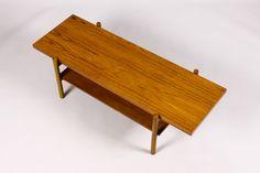 Mid Century - Danish Modern Vintage Teak Rectangular Coffee table - offset frame - lower storage shelf-7.jpg