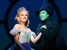Photo 1 of 6   Katie Rose Clarke as Glinda and Lindsay Mendez as Elphaba in Wicked.   Wicked: Show Photos   Broadway.com