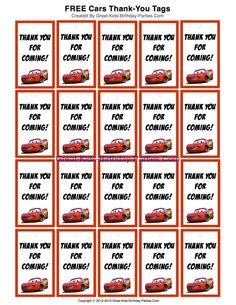 Cars Party Favors FREE Printable Disney Cars Thank-You Tags for party favors at Great-Kids-Birthday-Parties.ComFREE Printable Disney Cars Thank-You Tags for party favors at Great-Kids-Birthday-Parties. Car Themed Parties, Cars Birthday Parties, Birthday Party Favors, Birthday Fun, Birthday Ideas, Birthday Stuff, Disney Cars Party, Disney Cars Birthday, Disney Parties