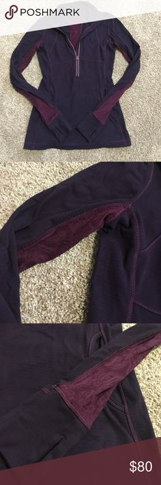 Lululemon pullover Good used condition no flaws! Thumb holes and cuffins! Size 8, fits tight and flattering! Lace and ruffle detail! lululemon athletica Tops