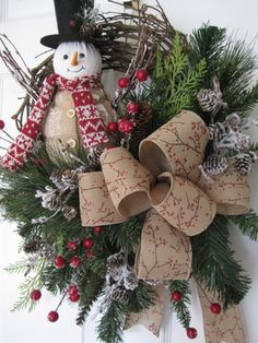 PRIM SNOWMAN Needle Pine Evergreens Christmas Winter por funflorals