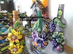 Resultado de imagem para botellas decoradas en porcelana fria