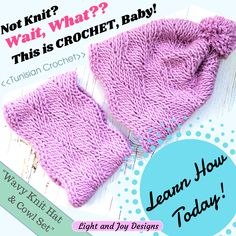 Sideways Wavy Knit Hat Cowl Set – Free Tunisian Crochet Pattern Video Tutorial – Light and Joy Designs Crochet Gifts, Free Crochet, Baby Girl Patterns, Easy Crochet Projects, Tunisian Crochet, Crochet Accessories, Hat Patterns, Knitted Hats, Knitting