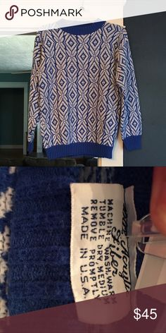 Vintage blue and white Aztec sweater Bill Cosby style amaze-balls sweater! I adore this sweater and hate to see it go. Even though it's old school it is still in like new condition Sweaters