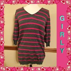 GAP hot pink striped sweater pullover large L$55  GAP Sweaters V-Necks