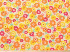 北欧調ポピー(花)柄コットンダブルガーゼプリント(イエロー)  110cm巾 綿100%  - そーいんぐ・すていしょんコミニカ