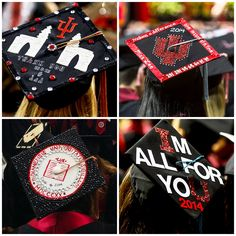 Personalized graduation caps from the Indiana University commencement ceremony for the Class of 2014.