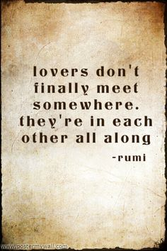 Lovers don't finally meet somewhere. They're in each other all along.  ~Rumi