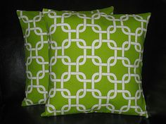 """Decorative Pillows Throw Pillow Cover 18 inch Chartreuse Chain Link set of TWO 18"""" Accent Pillows Lime Green, White"""