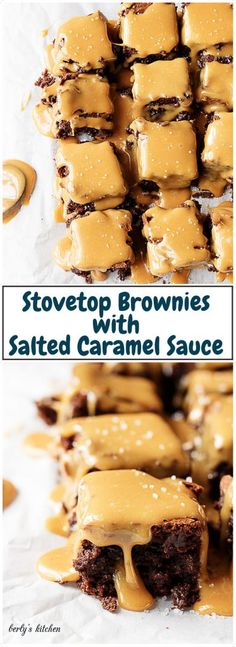 Stove top brownies with salted caramel sauce are thick fudgy brownies topped with a buttery, rich caramel sauce. Sweet and salty makes the perfect pair.