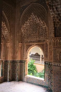 Detail, room and arched opening, Granada, Alhambra, Spain Islamic Architecture, Beautiful Architecture, Beautiful Buildings, Islamic World, Islamic Art, Places Around The World, The Places Youll Go, Wonderful Places, Beautiful Places