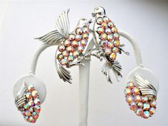 Coro Pegasus Love Bird Rhinestone Set Silver Brooch Earrings Vintage