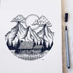 More of my art! Dotted Drawings, Cool Art Drawings, Pencil Art Drawings, Art Drawings Sketches, Easy Drawings, Stylo Art, Stippling Drawing, Circle Drawing, Mountain Drawing