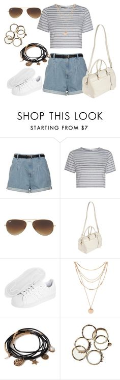 """Untitled #243"" by charlotte-down on Polyvore featuring Glamorous, Ray-Ban, Yves Saint Laurent, adidas Originals and Forever 21"
