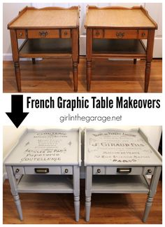 Table Makeover with French Advertisement Graphic (The Twin) DIY French Graphic Table Makeovers - Refurbished Furniture, Paint Furniture, Repurposed Furniture, Furniture Projects, Furniture Makeover, Diy Projects, Furniture Stores, Rustic Furniture, Vintage Furniture