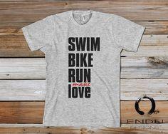 Swim, Bike, Run, MAKE LOVE ;) - Triathlete Triathlon Design - Mens T-Shirt by ENDUdesigns