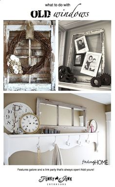 200  OLD WINDOW ideas! Features and a link party! Come browse or link up! (it never closes) via Funky Junk Interiors #windows