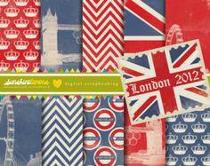 Londres 2012 Digital sistema de papel de Scrapbooking