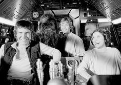 : Harrison Ford, Peter Mayhew, Mark Hamill, and Carrie Fisher having fun between takes on the set of Star Wars: A New Hope Star Wars Cast, Star Wars Watch, Lego Star Wars, Star Trek, Dark Maul, Obi Wan, Chewbacca, Sith, Jar Jar Binks
