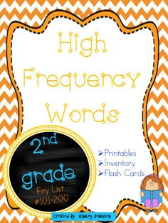Second Grade High Frequency Words This packet covers the following words: -Fry List #101-200  Included in the packet are the following: -printables -inventory -flash cards $