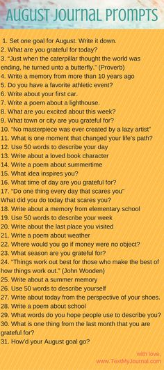 August Journal Prompts