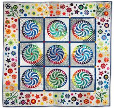 Quilt - Whirlygigs in New York by Mildred Castro   inspired by Piece O' Cake Designs