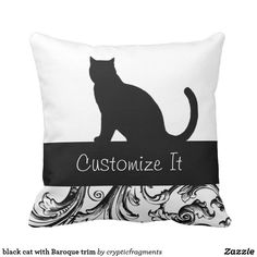 black cat with Baroque trim Throw Pillow