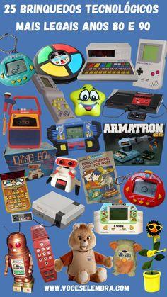 Sonhos de consumo de muitas crianças e adolescentes dos anos 80 e 90, selecionamos os 25 brinquedos tecnológicos que mais fizeram sucesso nos anos 80 e 90. Você tinha algum da lista? Qual era o seu favorito?