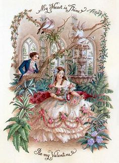 Victorian Valentine Card. love the dress!