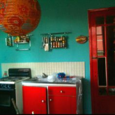 Red turquoise mexican kitchen red door
