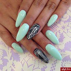 mint , tribal stiletto nails .